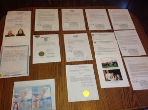 Dossier documents, ready to be st. cert.